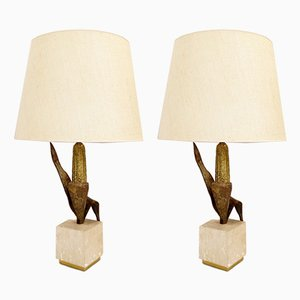 Brass and Enameled Steel Corn Table Lamps, Set of 2