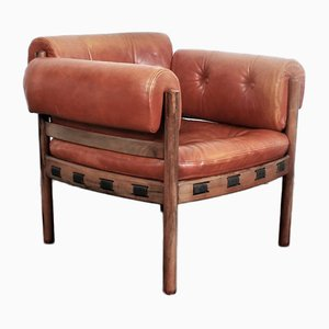 Rosewood Club Chair with Leather Upholstery by Arne Norell for Coja, 1960s