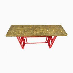 Red Lacquer Bamboo Console Table with Gold Lacquer Top