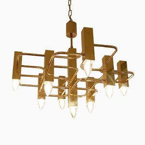 Brass Ceiling Lamp with 9 Lightpoints by Gaetano Sciolari, 1970s