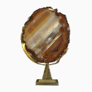 Modernist Table Lamp in Bronze and Agate by Willy Daro, 1970s