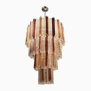 Large Murano Glass Caramel Rose Prism Chandelier
