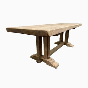 Large French Bleached Oak Farmhouse Refectory Dining Table