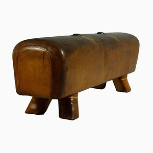 Vintage Leather Gym Pommel Horse, 1930s