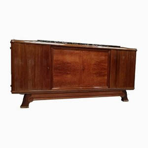 Mahogany & Marble Sideboard by Gaston Poisson, 1930s