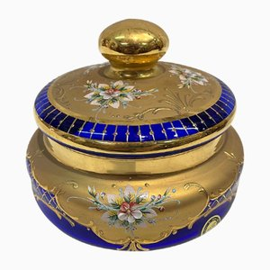 Round Murano Glass Jar with Gold and Enamels, 1970s