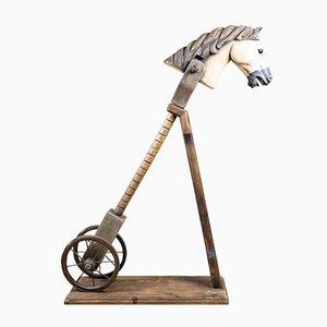 Antike geschnitzte & bemalte Hobby Pferde, 2er Set