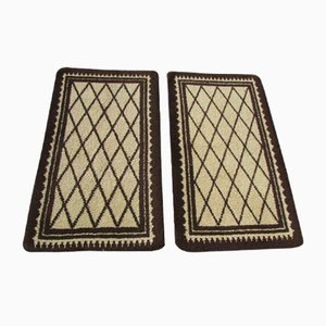 Wool & Cotton Diamond Carpets, 1950s, Set of 2