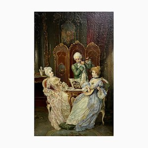 Antique English School The Salon Concert Painting by William Bruce Ellis Ranken
