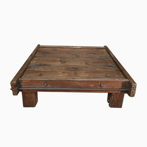 Large Coffee Table in Solid Oak and Metal, 1920s