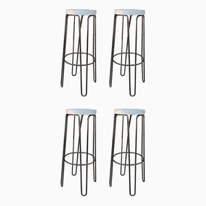 Metal & Wood Stools, 1960s, Set of 4