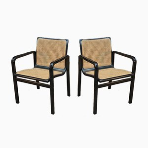 Caned Black Lacquered Armchairs, 1970s, Set of 2