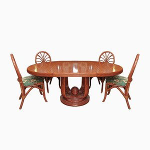 Set da pranzo e sedie in olmo di Maugiron, anni '60, set di 5