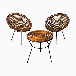 Mid-Century Italian Rattan Set with 2 Armchairs & Side Table, 1950s