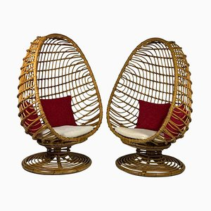 Mid-Century Italian Rattan Egg-Shaped Armchairs, 1953, Set of 2