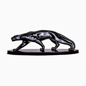 Art Deco French Black Ceramic Panther Sculpture, 1940s