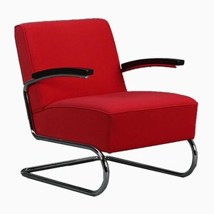 Red Cantilever S411 Lounge Chair from Thonet