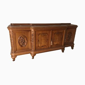 Antique Sidebord in Solid Wood with Floral Carvings