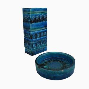 Rimini Blue Collection Ceramics by Aldo Londi for Bitossi, 1970s, Set of 2