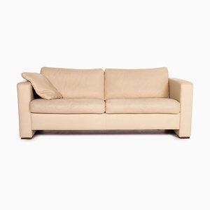 Beige Leather Three-Seater Sofa from Machalke