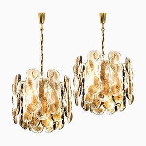 Large Citrus Swirl Smoked Glass Chandeliers Set by Kalmar Lighting, 1969, Set of 2