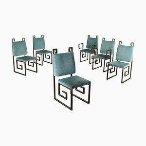 Vintage Italian Metal & Velvet Dining Chairs, 1990s, Set of 6
