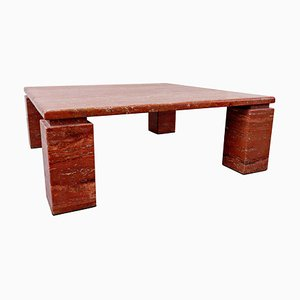 Red Travertine Coffee Table, 1970s