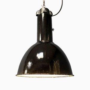 Industrial Bauhaus Style Black Enamel Pendant Lamp, 1920s