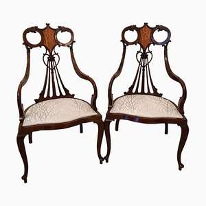 Antique Victorian Mahogany Inlaid Armchairs, Set of 2