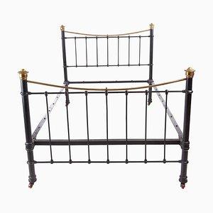 Antico letto vittoriano in ottone e ferro