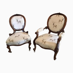 19th-Century Antique Victorian Carved Walnut Chairs, Set of 2