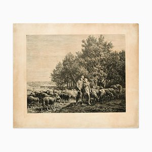 Shepherds with Flock - Original Etching - 19th Century 19th Century