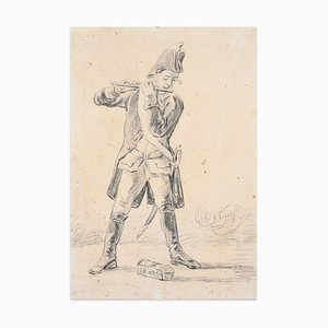 Member of the Military Band - Original Drawing - 19th Century 19th Century