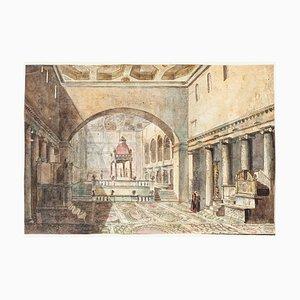 Basilica di San Lorenzo - Original Handaquarellierte Radierung - 19. Jahrhundert 19. Jahrhundert