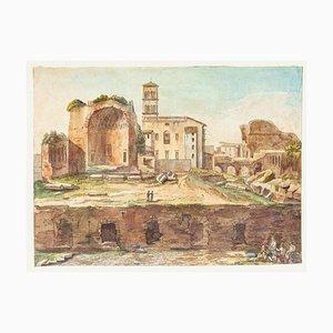 Roman Heritage - Original Hand Watercolored Etching - 19th Century 19th Century