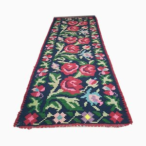 Large Moldavian Runner Rug with Big Red Roses, 1960s