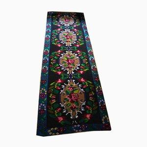 Großer Rumänischer Blauer Teppich mit Blumen, 1950er
