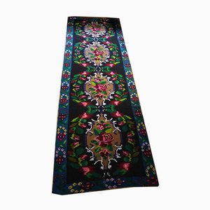 Large Romanian Blue Floral Runner Rug, 1950s