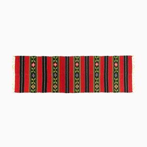 Vintage Handmade Red & Black Wool Runner, 1980s