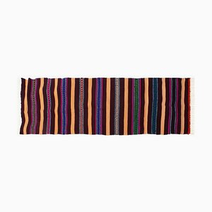 Romanian Handmade Striped Colorful Wool Runner, 1980s