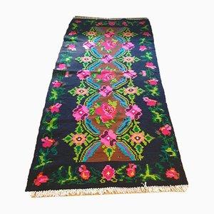 Romanian Handmade Wool & Cotton Floral Carpet, 1980s