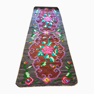 Large Romanian Floral Runner Rug, 1950s