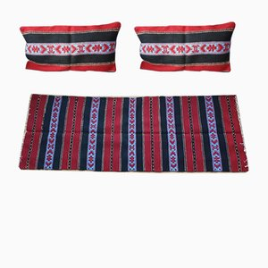 Romanian Handwoven Wool Cushion Cases & Runner Set, 1970s, Set of 3