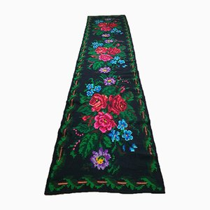 Long Handwoven Wool Floral Runner with Red & Pink Roses, 1990s