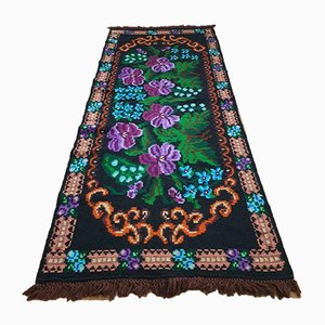 Handwoven Wool Runner with Purple & Turquoise Flowers, 1990s