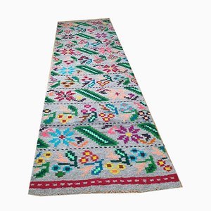 Handwoven Wool Floral Runner, 1990s