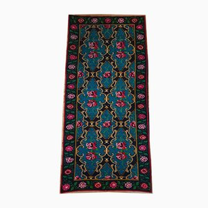 Romanian Handwoven Bohemian Blue Carpet with Roses, 1970s