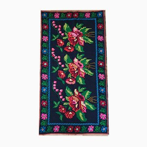 Romanian Handwoven Bohemian Black Carpet with Roses, 1970s
