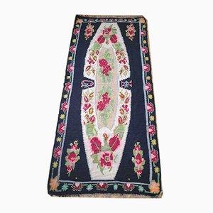 Large Romanian Black Floral Rug, 1950s