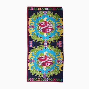 Romanian Handwoven Bohemian Floral Carpet, 1970s